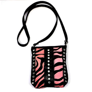 PINK ZEBRA COWHIDE AND LEATHER SHOULDER BAG WITH CRYSTALS PURSE