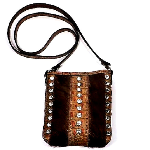 BROWN COWHIDE AND TAN CROCO LEATHER SHOULDER BAG WITH CRYSTALS PURSE