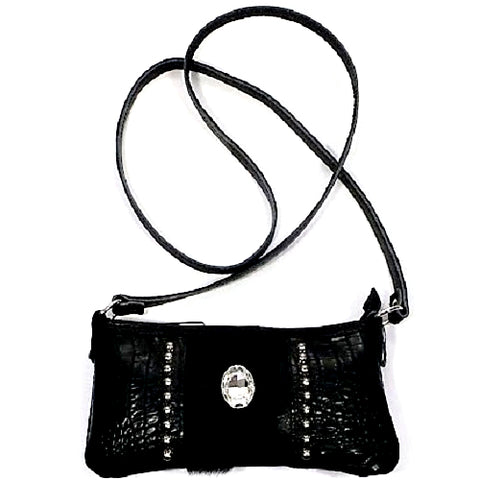 RECTANGULAR BLACK CROCO AND COWHIDE WITH CRYSTAL PURSE