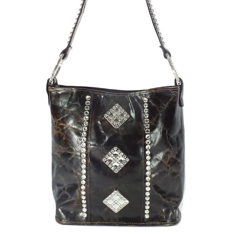 BROWN DISTRESSED LEATHER BUCKET BAG WITH CRYSTALS PURSE
