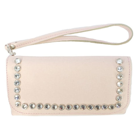 PINK LEATHER WALLET WITH CRYSTALS