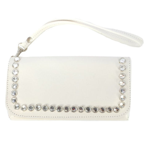 WHITE LEATHER WALLET WITH CRYSTALS