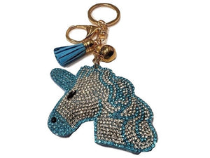UNICORN HEAD TASSEL PUFF KEY CHAIN