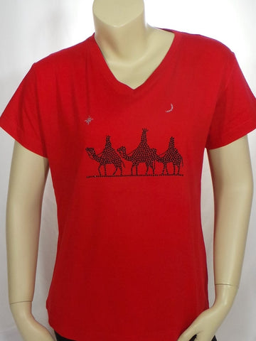 Large 3 Kings Red Short Sleeve V-Neck Tee