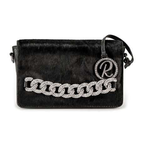 SHOULDER BAG WITH BLACK COWHIDE FLAP
