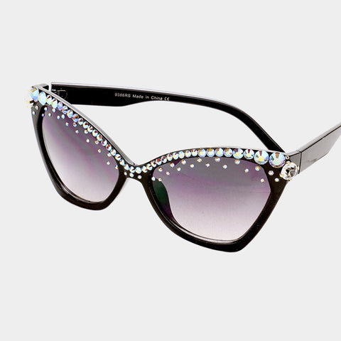 BLACK WITH AB AND BLK DIAMOND CRYSTALS CAT EYE SUNGLASSES