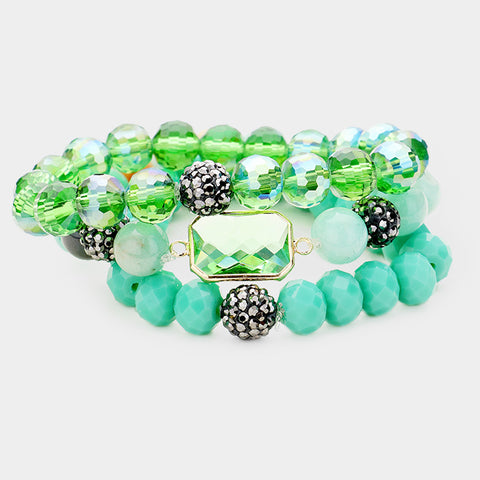 3PCS - NATURAL STONE BEADS STRETCHABLE BRACELETS