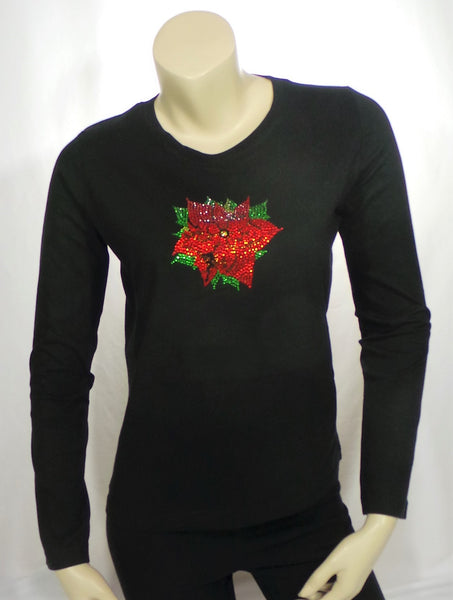 Small Poinsettia Black Long Length Sleeve Round Neck Tee