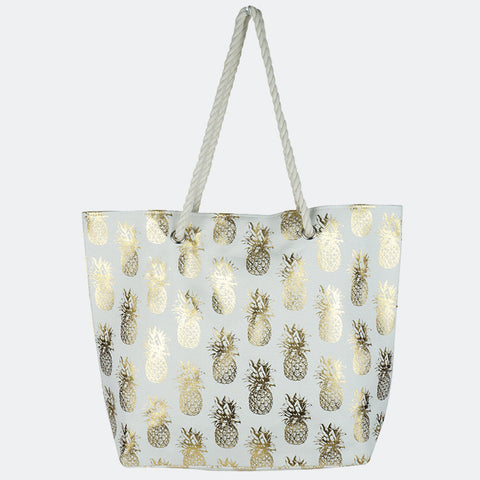 METALLIC PINEAPPLE PATTERN BEACH BAG-WHITE