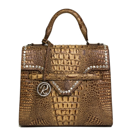 LUXURIOUS BROWN CROCO SATCHEL WITH CRYSTALS ON FLAP PURSE