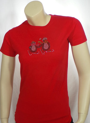 Junior Medium Christmas Penguins Red Short Sleeve Tee