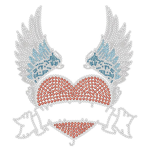 HEART WITH WINGS RHINESTONE ASSORTED COLOR APRONS