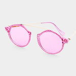 PINK METAL CONNECTION SUNGLASSES WITH CRYSTALS