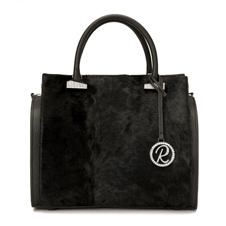 DOUBLE LINE SATCHEL BLACK PEBBLE AND BLACK COWHIDE PURSE