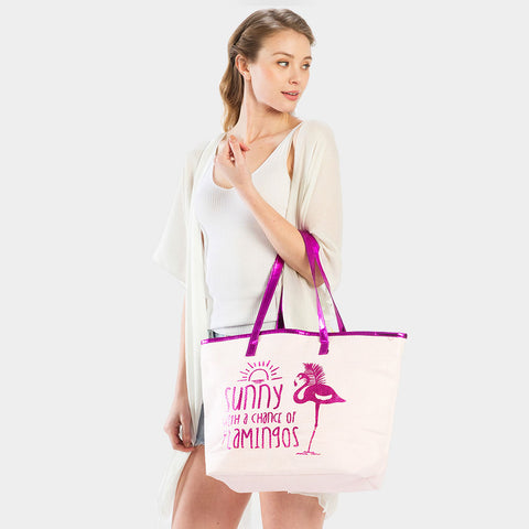 FLAMINGO PRINT BEACH TOTE BAG-FUCHSIA