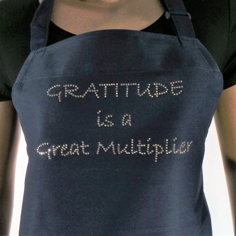 GRATITUDE IS A GREAT MULTIPLIER RHINESTONE ASSORTED COLOR APRONS