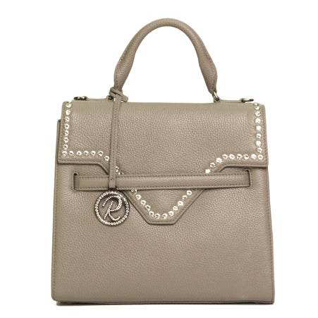 LUXURIOUS GRAY PEBBLE CROCO SATCHEL WITH CRYSTALS ON FLAP