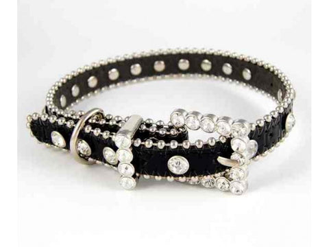 "20"" BLACK LEATHER CLEAR CRYSTAL STUDDED DOG COLLAR"