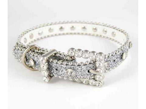 "20"" SILVER GLITTER CLEAR CRYSTAL STUDDED DOG COLLAR"