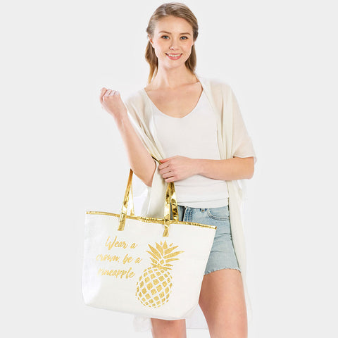 PINEAPPLE PRINT BEACH TOTE BAG-GOLD