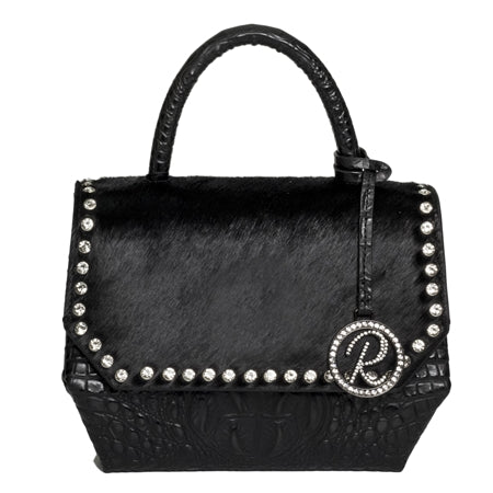 SHOULDER BAG WITH BLACK CROCO AND BLACK COWHIDE ON FLAP