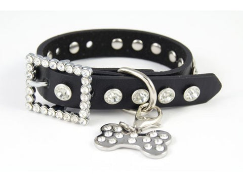 "15"" BLACK LEATHER CLEAR CRYSTAL STUDDED DOG COLLAR"