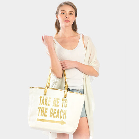METALLIC HANDLE TOTE BAG-TAKE ME TO THE BEACH