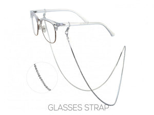 SILVER EYE GLASSES STRAP WITH CLEAR CRYSTALS