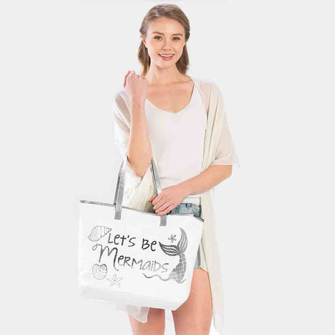 LETS BE MERMAIDS TOTE BAG-SILVER