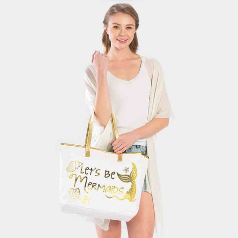 LETS BE MERMAIDS TOTE BAG-GOLD