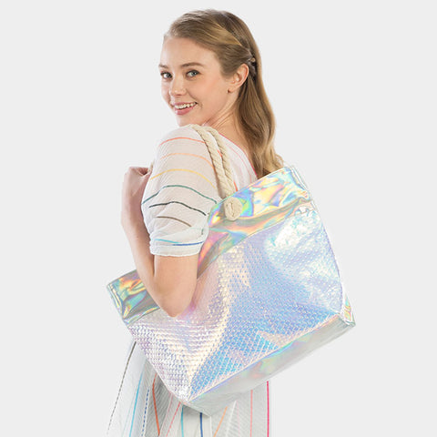 IRIDESCENT BEACH TOTE BAG-BLUE