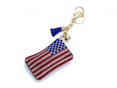 RED WHITE BLUE USA AMERICAN FLAG PUFF KEY CHAIN