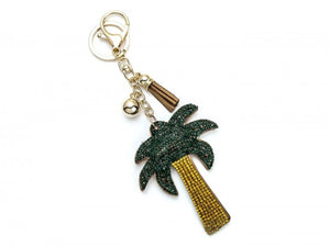 GREEN LEAVES GOLD PALM TREE PUFF KEY CHAIN