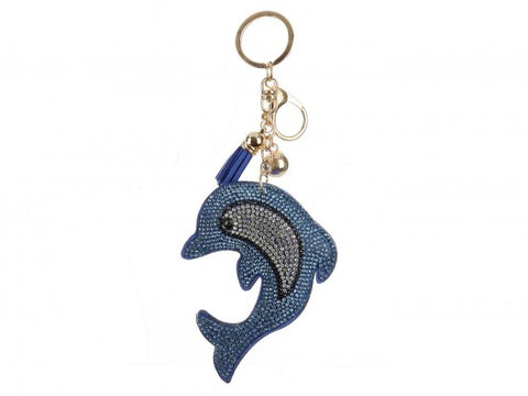 LIGHT BLUE DOLPHIN PUFF TASSEL KEY CHAIN