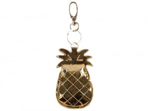 GOLD METALLIC PUFF PINEAPPLE KEY CHAIN