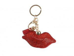 RED LIPS TASSEL PUFF KEY CHAIN