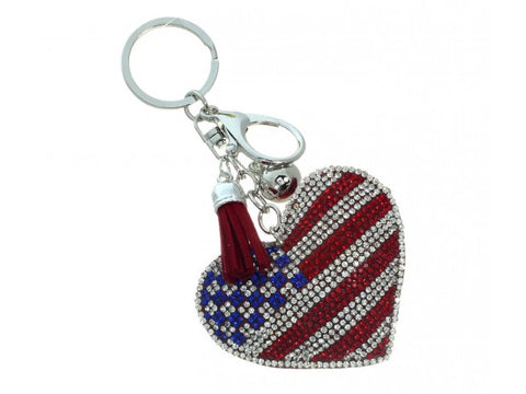 USA FLAG HEART TASSEL PUFF KEY CHAIN
