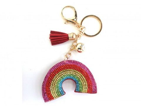 MULTI RAINBOW TASSEL PUFF KEY CHAIN