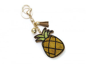 YELLOWISH CRYSTAL PINEAPPLE TASSEL PUFF KEY CHAIN