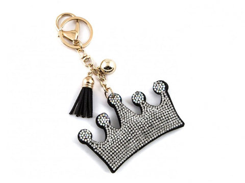 CLEAR CRYSTAL CROWN TASSEL PUFF KEY CHAIN