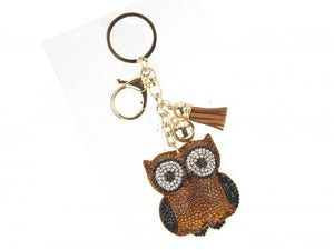 BROWN OWL CRYSTAL TASSEL PUFF KEY CHAIN