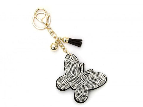 CLEAR CRYSTAL BUTTERFLY TASSEL PUFF KEY CHAIN