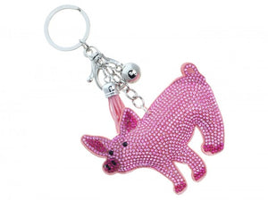 PINK CRYSTAL PIG TASSEL PUFF KEY CHAIN