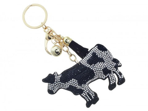BLACK CRYSTAL COW TASSEL PUFF KEY CHAIN