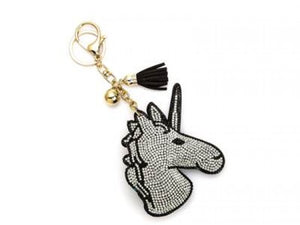 CLEAR CRYSTAL UNICORN TASSEL PUFF KEY CHAIN