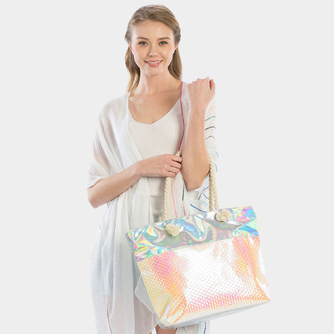 IRIDESCENT BEACH TOTE BAG-PINK