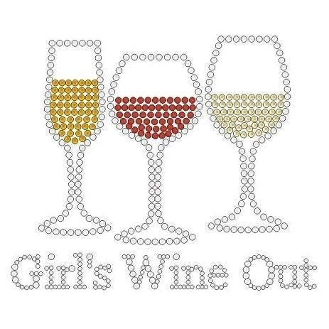 GIRLS WINE OUT RHINESTONE ASSORTED COLOR APRONS