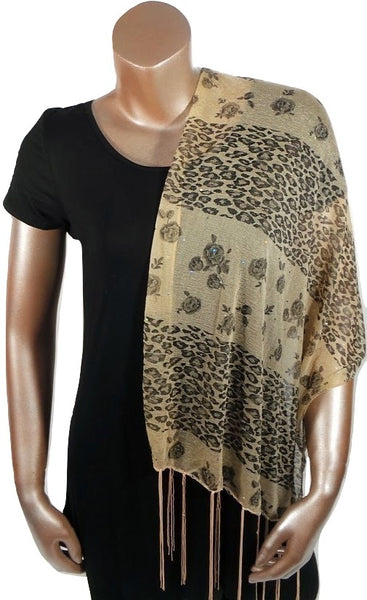 BEIGE CHEETAH FLOWER FASHION WOMEN PRINTED SOFT SCARF SHAWL WITH FRINGES AND GLITTER