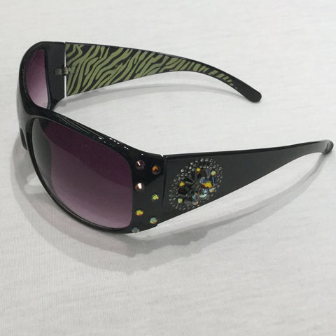 BLACK WITH VOLCANO CRYSTALS SUNGLASSES
