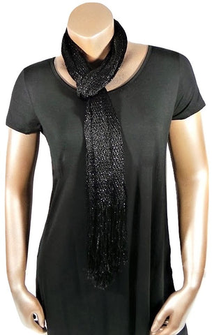 METALLIC BLACK GLITTER SHAWL SCARF WRAP